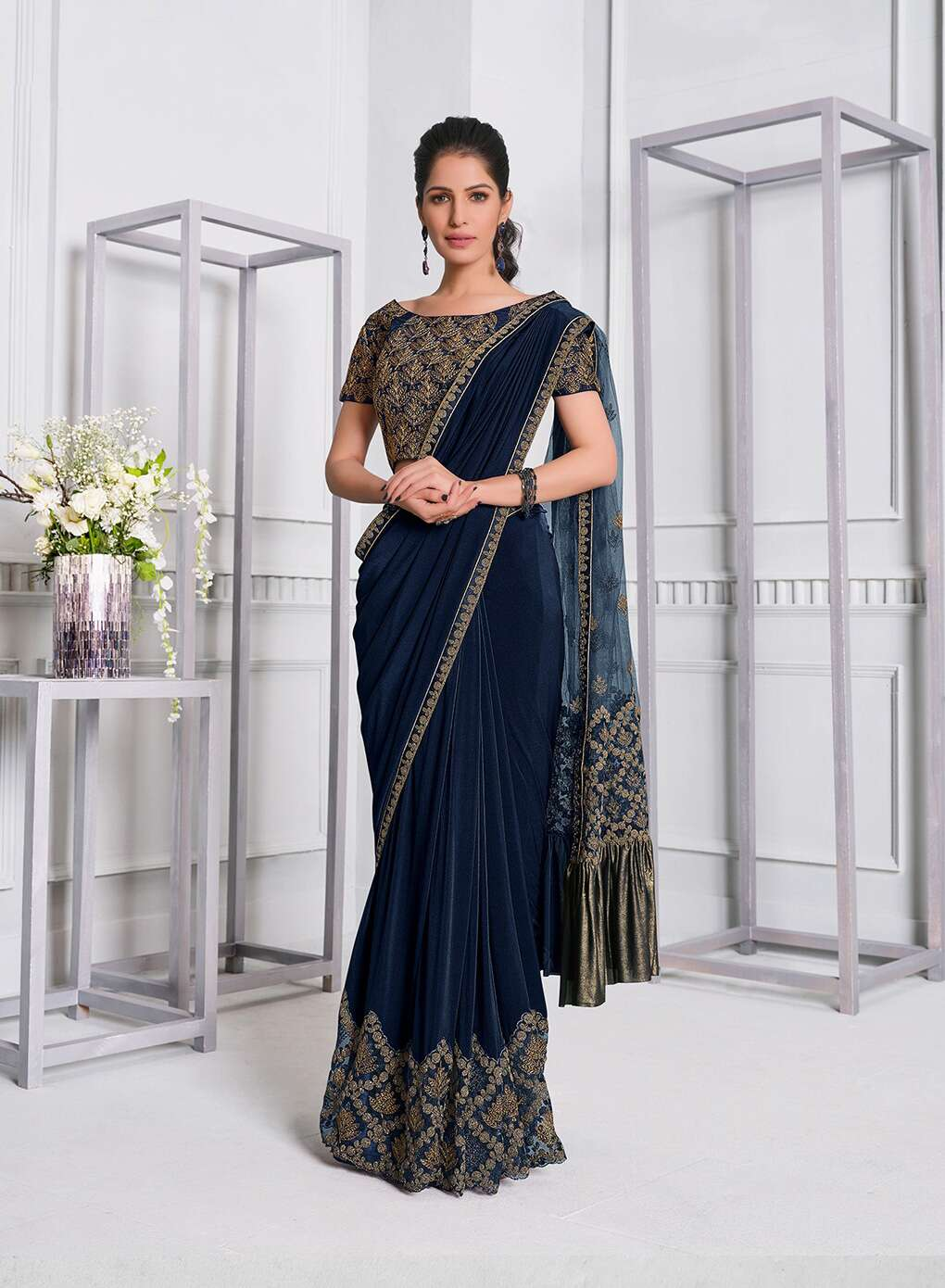 Party Wear Sarees With Latest Designer Blouse